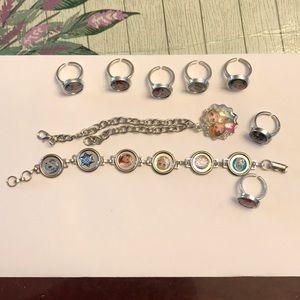 2 bracelet 7 rings